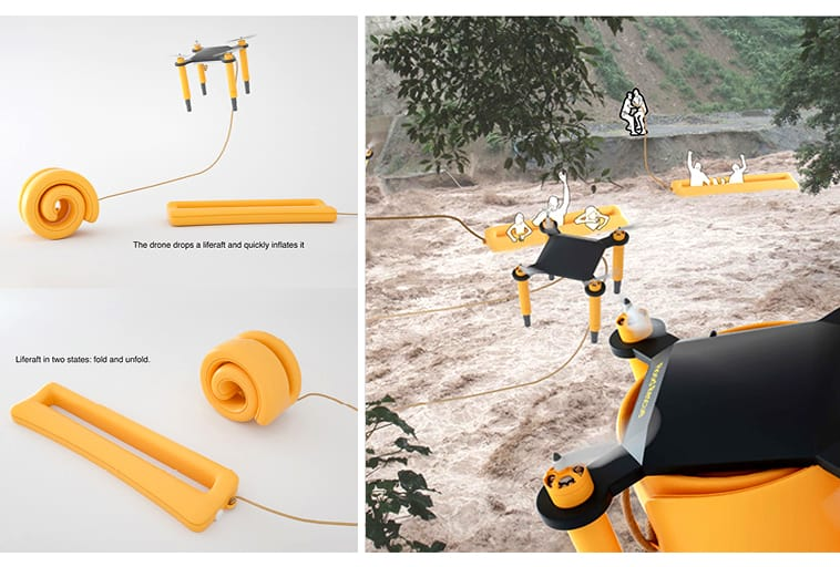 Flood Rescue Drone and Life Raft System